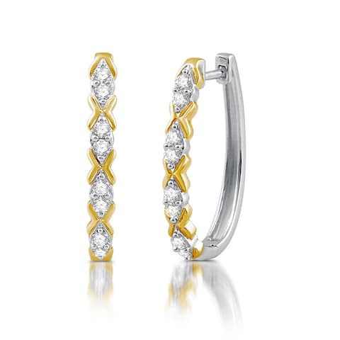 1/2 CTTW Diamond 'X' Hoop Earrings In Sterling Silver and Yellow Gold Plating (I-J, I2/I3) - White H-I