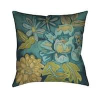 Laural Home Teal Florals II Indoor- Outdoor Decorative Pillow