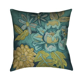 Laural Home Teal Florals II Indoor- Outdoor Decorative Pillow