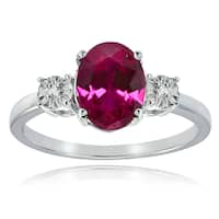 Glitzy Rocks Sterling Silver Created Ruby and Diamond Accent Oval Ring