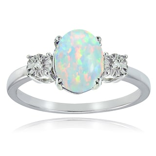 Glitzy Rocks Sterling Silver Created White Opal and Diamond Accent Oval Ring