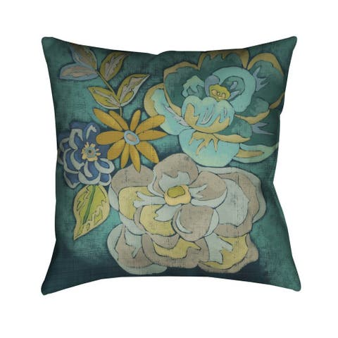 Laural Home Teal Florals I Indoor- Outdoor Decorative Pillow