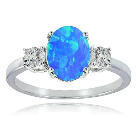 Glitzy Rocks Sterling Silver Created Blue Opal and Diamond Accent Oval Ring