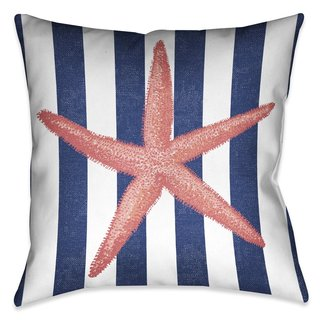 Laural Home Coral Starfish Indoor- Outdoor Decorative Pillow