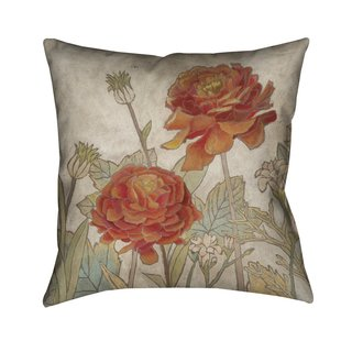 Laural Home Red Blooms II Indoor- Outdoor Decorative Pillow