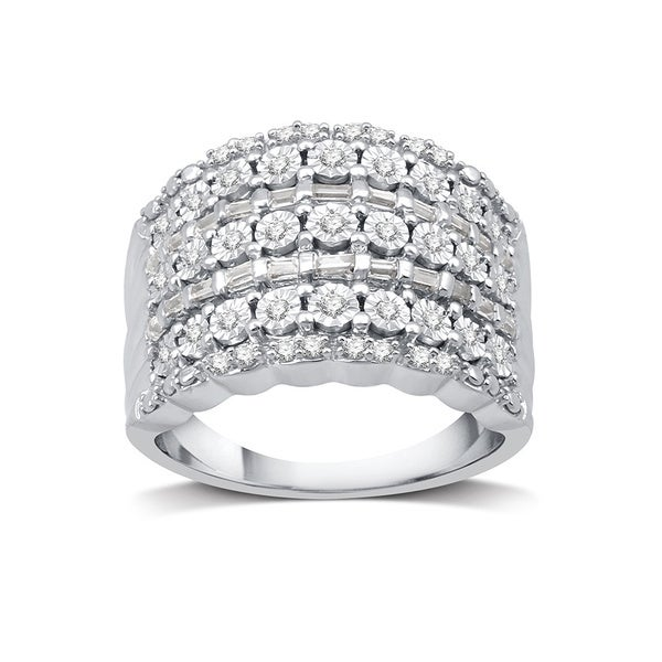 1/2 CTTW Round & Baguette Diamond Fashion Band In Sterling Silver (I-J, I2/I3) - White I-J