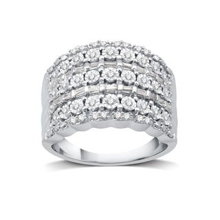1/2 CTTW Round & Baguette Diamond Fashion Band In Sterling Silver (I-J, I2/I3)