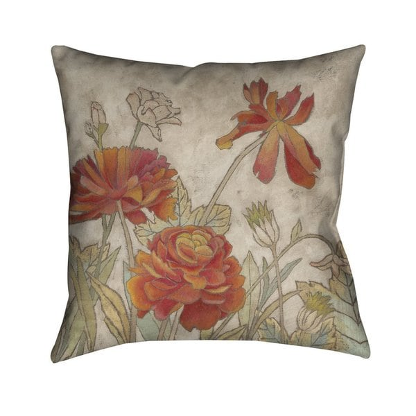 Shop Laural Home Red Blooms I Indoor Outdoor Decorative Pillow Free Shipping Today