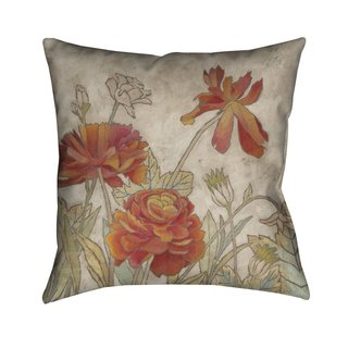 Laural Home Red Blooms I Indoor- Outdoor Decorative Pillow