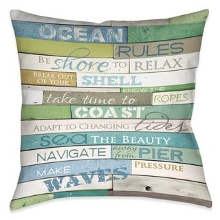 Laural Home Rules of the Ocean Indoor- Outdoor Decorative Pillow
