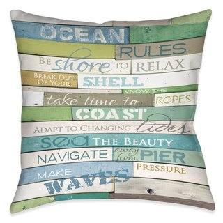 Laural Home Rules of the Ocean Indoor- Outdoor Decorative Pillow (2 options available)