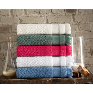Somette Diamond Jacquard Turkish Cotton Oversized Bath Towel (set of 2) (5 options available)