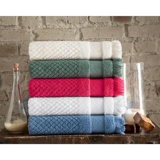 Somette Diamond Jacquard Turkish Cotton Oversized Bath Towel (set of 2)