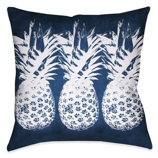 Laural Home Blue and White Pineapples Indoor/Outdoor Decorative Pillow