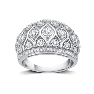 1/2 CTTW Diamond Lace Designed Fashion Rings in Sterling Silver (I-J, I2/I3) - White I-J