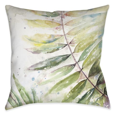 Laural Home Watercolor Ferns II Indoor/Outdoor Decorative Pillow