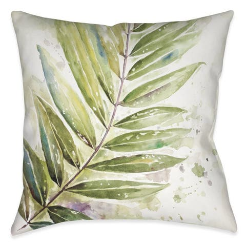 Laural Home Watercolor Ferns I Indoor/Outdoor Decorative Pillow
