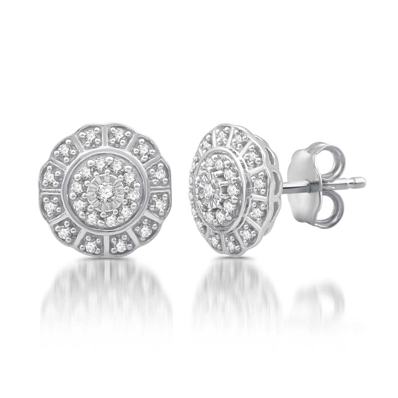 b03764680 1/4 CTTW Diamond Flower Twist Frame Stud Earrings in Sterling Silver (I-J,