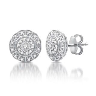 1/4 CTTW Diamond Flower Twist Frame Stud Earrings in Sterling Silver (I-J, I2-I3)