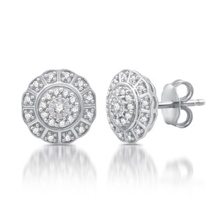 1/4 CTTW Diamond Flower Twist Frame Stud Earrings in Sterling Silver (I-J, I2-I3)