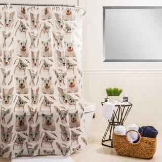 Splash Home Woodland Creatures Aqua PEVA Shower Curtain