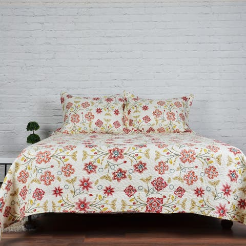 Lauren Taylor - Cassie 3pc Printed Quilt Set