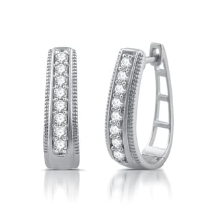 1/2 CTTW Diamond Textured Hoop Earrings In Sterling Silver (I-J, I2/I3)