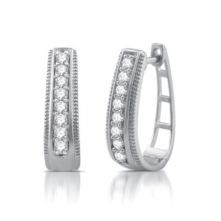 1/2 CTTW Diamond Textured Hoop Earrings In Sterling Silver (I-J, I2/I3) - White H-I