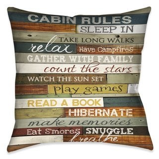 Laural Home Rules of the Cabin Indoor- Outdoor Decorative Pillow (2 options available)