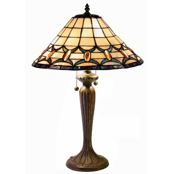 tiffany style jeweled table lamp free shipping today. Black Bedroom Furniture Sets. Home Design Ideas