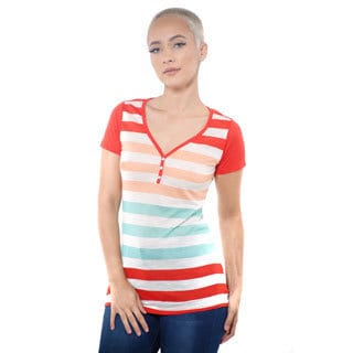 Women's Casual V-neck Stripe T-Shirt Short Sleeve Top
