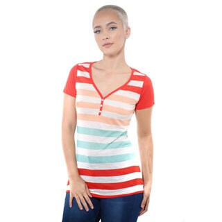 Women's Casual V-neck Stripe T-Shirt Short Sleeve Top (More options available)