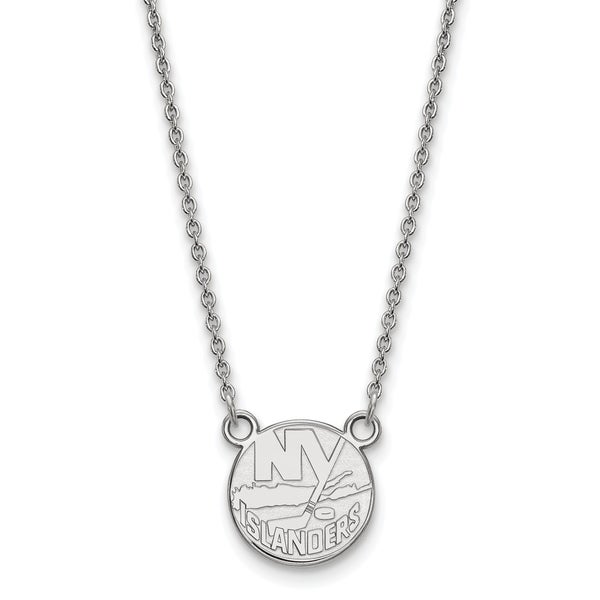 Sterling Silver NHL LogoArt New York Islanders Small Pendant With Necklace