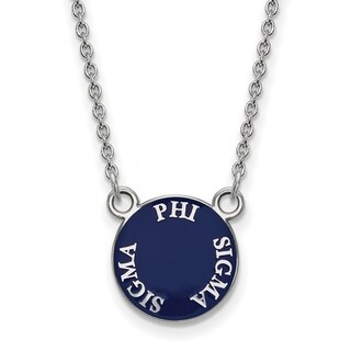Sterling Silver Phi Sigma Sigma Extra Small Enameled Pendant With 18 inch Chain