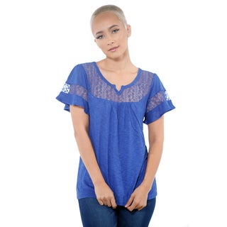 Women Loose Casual Lace ShortSleeve Tops