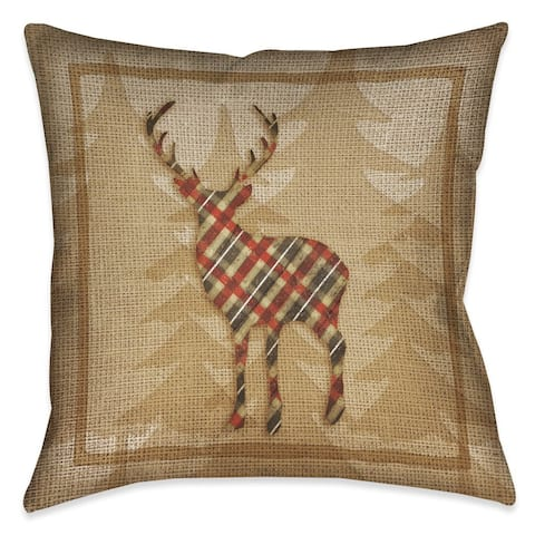 Laural Home Rustic Cabin Deer Plaid Indoor/Outdoor Decorative Pillow