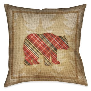 Laural Home Rustic Cabin Bear Plaid Indoor/Outdoor Decorative Pillow