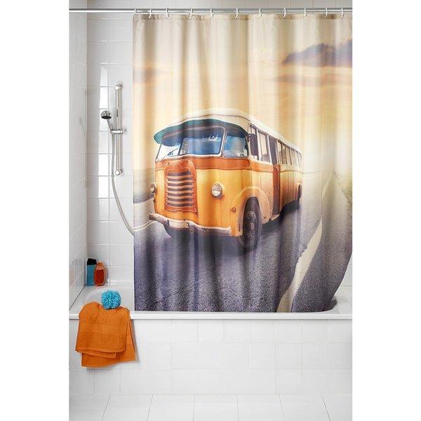 Wenko Vintage Bus Anti-Mildew 71x79 Polyester Shower Curtain