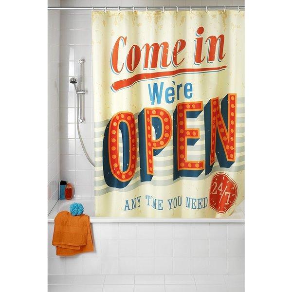 Wenko Vintage Open Anti-Mildew 71x79 Polyester Shower Curtain