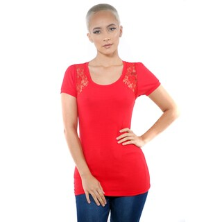 Women's Lace Cap Sleeve Open Back Tops