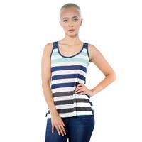 Women's Casual Stripe Sleeveless Open Back Tank Top
