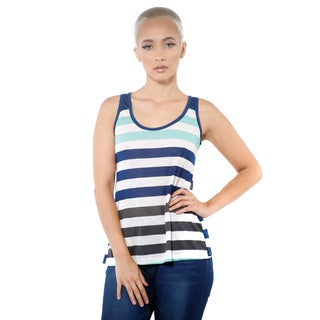 Women's Casual Stripe Sleeveless Open Back Tank Top
