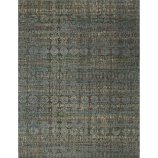 "Transitional Bohemian Grey/ Blue Rug - 6'7"" x 9'4"""