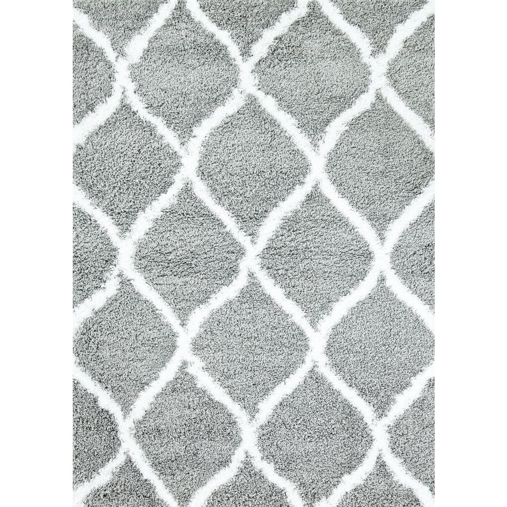 Persian Rugs Manhattan Collection Grey White Shag/Shaggy
