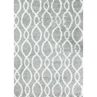 Persian Rugs Manhattan Design Grey White Shag/Shaggy Area Rug (2'0 x 3'4)