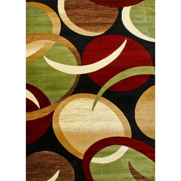 Persian Rugs Modern Trendz Abstract Black Green Burgundy Area Rug