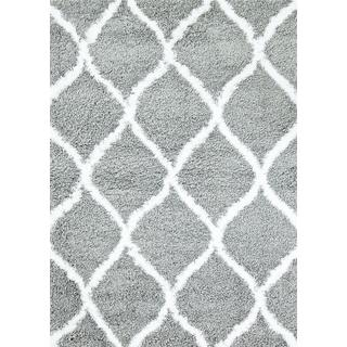 Manhattan Collection Persian Grey and White Shag Area Rug (6'5x9'2)