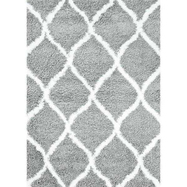 Shop Manhattan Collection Persian Grey And White Shag Area Rug
