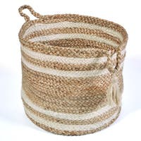 "LR Home Montego Stripe Natural Jute Decorative Storage Basket (19 in.) - 19"" x 19"" x 19"""