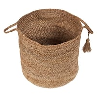 "LR Home Montego Solid Natural Jute Decorative Storage Basket (17 in.) - 17"" x 17"" x 17"""
